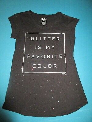 JUSTICE Girls Black Glitter Short Sleeve Shirt Size 14