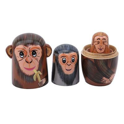 Cute Monkey Animals Matryoshka Russian Nesting Dolls Babushka Wooden Matreska AA