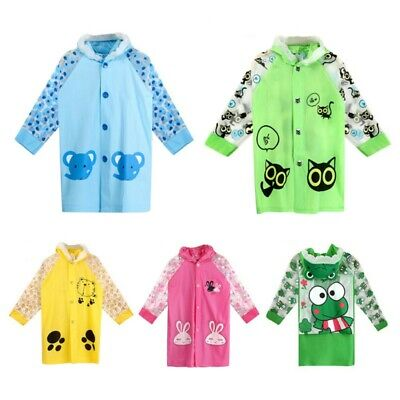 Kids Baby Raincoat Jacket Cute Cartoon Hooded Rain Coat Backpack Cover Rainwear
