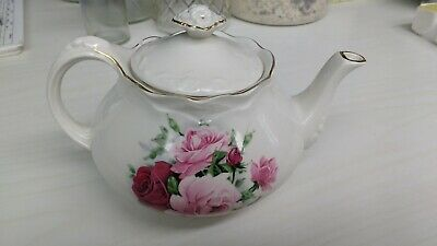 Beautiful Teapot Crown Dorset ONE cup Staffordshire England Pink Roses GOLD