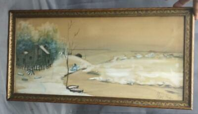 Antique Old Winter Landscape American Snow Winter Watercolor Painting E Ryder