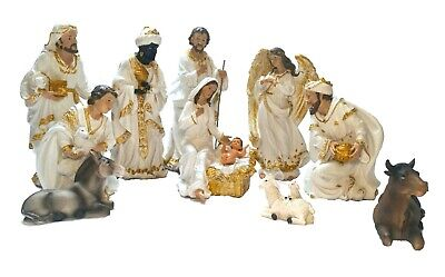 18 inch Tall White and Gold Nativity Set of 11 Large Christmas scene figurines