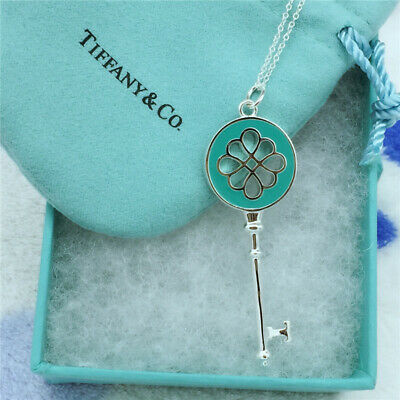 Tiffany & Co Silver Blue Enamel Round Knot Key Oval Link Chain Necklace Pendant
