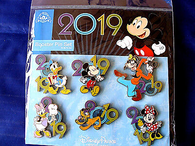 Disney * DATED 2019 Mickey & Friends * 6 Pin BOOSTER Set