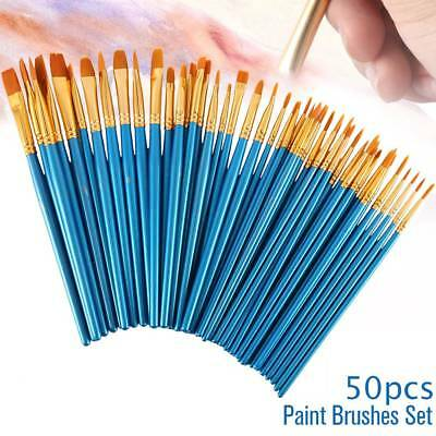 50 X Pro Artist Painting Brushes Set Watercolor Acrylic Oil School Art Craft Kit
