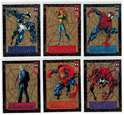 1994 Spider-Man Fleer Marvel Gold Web Jumbo Complete 6 Card Insert Chase Set