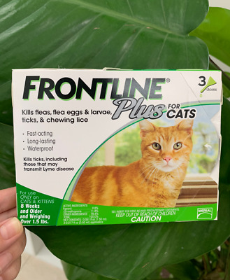 3 Doses Frontline Plus Cat Flea&Tick Health Remedy For Cats With 6 Month Supply