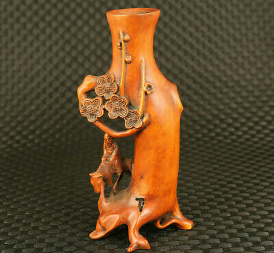 true to life chinese old boxwood hand carved plum blossom statue exquisite vase