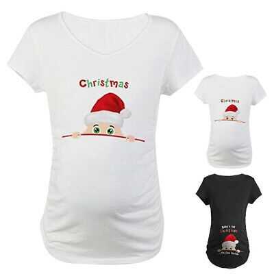 Baby's 1st Christmas on the side Women Maternity T-shirt Pregnant Tops Cotton AU