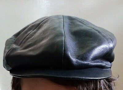 Gorgeous Vintage 1960's Leather flat cap, Peaky Blinders style. size 57 VGC
