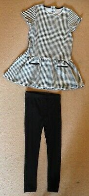 Girls TU 2 piece outfit dog tooth check top and black leggins age 8