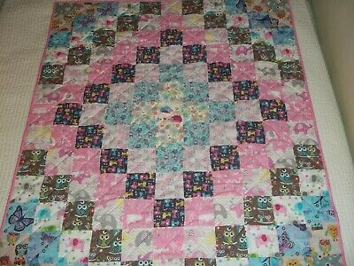 New Handmade Baby Girl Crib Quilt Toddler Blanket Patchwork  Cotton Elephant Abc