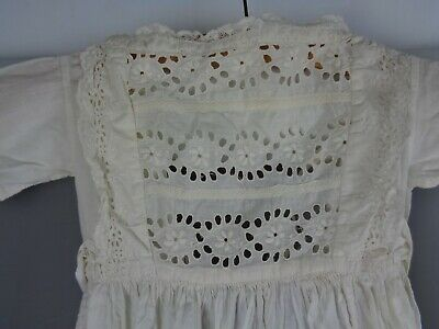"""Beautiful vintage/antique long off-white cotton Christening gown, 18-20"""" chest"""