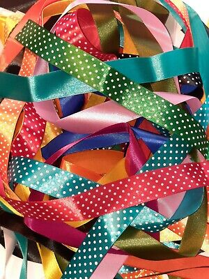 10 yards  Assorted Colours of 2.5cm wide Satin Ribbon Off Cuts Bundle Crafts