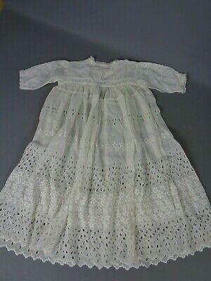"""Beautiful vintage/antique off-white fine cotton Christening gown, 22"""" chest"""