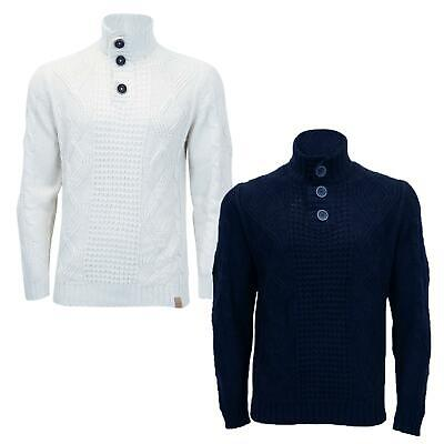 Mens Collared Long Sleeve Ribbed Knitted Winter Sweater Pullover 3 Button Jumper