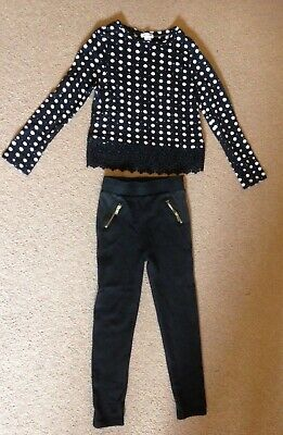 Girls River island  2 piece black and white outfit age 5/6 years top and jeggins