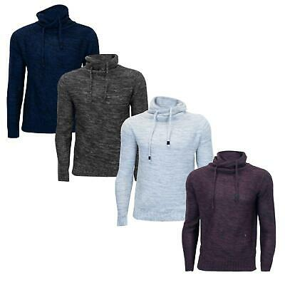 Mens Plain Hooded Cuff Long Sleeve Ribbed Knitted Winter Sweater Pullover Jumper
