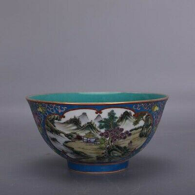 "6"" Chinese Yongzheng marked antique Porcelain famille rose gilt landscape bowl"