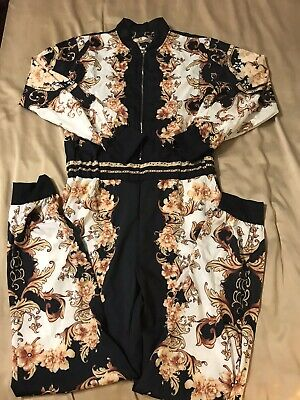 Women Sexy  Floral Deep V-Neck Long Sleeve Bodycon Pant Jumpsuit Rompers Size L