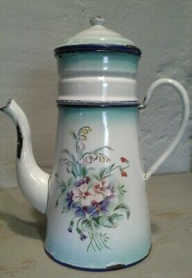 Vintage french enamel coffee pot with filter