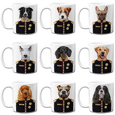 Personalised Dog Mug Funny Military Portrait Pet Birthday Dog Lover Cup Gift