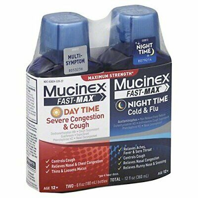 Mucinex Fast-Max Adult Day and Night Severe Congestion & Cough / Cold & Flu,...