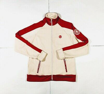 90's vintage Fred Perry Track Jacket Track Top Red White size 14 - Medium (VLD)