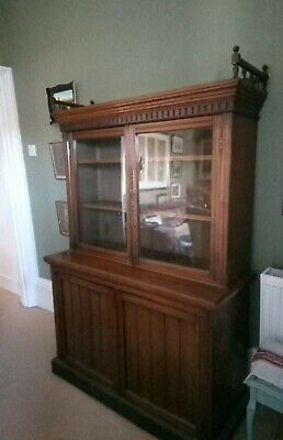 Antique Edwardian Bookcase with Original Glazed Doors and Galleried Top