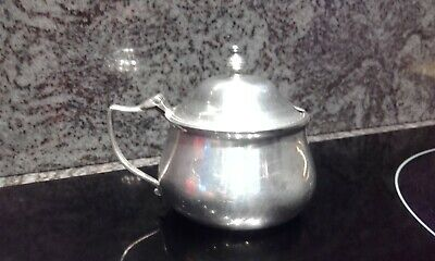 Elkington Silver Plated Mustard Pot with Blue Glass liner