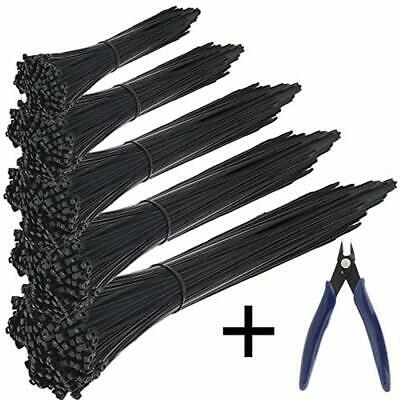Cable Ties 500 Pcs Nylon Zip Self-Locking 4/6/8/10/12 Inch, Black, UV Resistant,