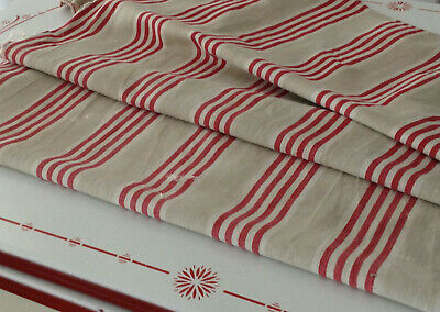 Antique French Linen Red Striped Ticking Fabric Herringbone  Hand Mends Rustic