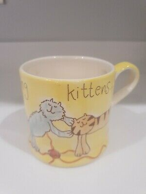 Beth For Whittard Fluffy Kittens Hand Painted Mug Excellent Condition