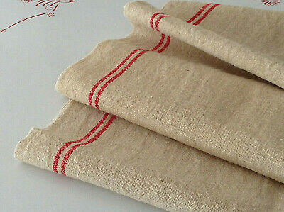 Antique French Burlap  Hessian Jute Rustic fabric Red Stripes Rustic Decor