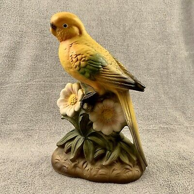 Wales Or Napco Made In Japan Red Sticker Parakeet Bird With Flowers Hand Painted