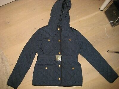 Girls M&S navy blue quilted jacket coat with belt Age 9-10yrs
