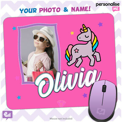 Personalised PHOTO / NAME Unicorn Girly Mouse Mat Pad Kids PC Laptop Gift Gaming