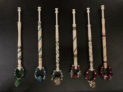 6 Traditionally Made Bone Pillow Lace Bobbins With Glass  Beaded Spangles