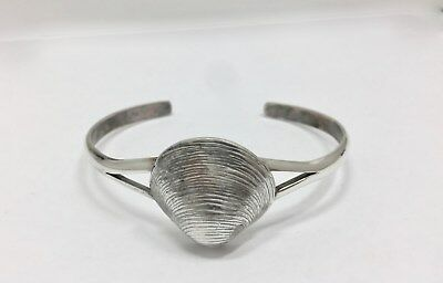 Large Size Modern Claim Shell Cuff Bracelet Sterling Silver Seashell 925 FMGE