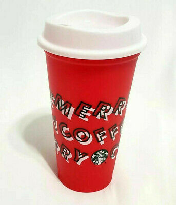 Starbucks 2019 Holiday Merry Coffee Reusable Cup Red Plastic Hot Cold Grande16oz