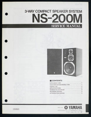 YAMAHA NS-200M Speaker Service Manual/Diagram - Factory Original - Rare