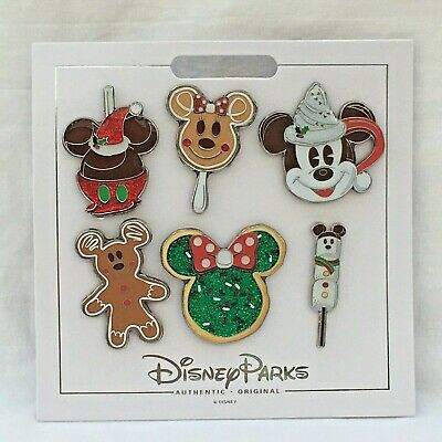Disney Parks Christmas Holiday 2019 Foods & Treats Booster Set of 6 Pins NOC