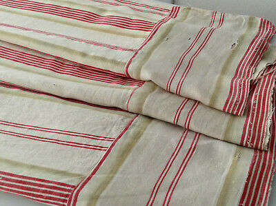 Antique French Linen Red Green Stripe Ticking Fabric Herringbone Farmhouse RARE!