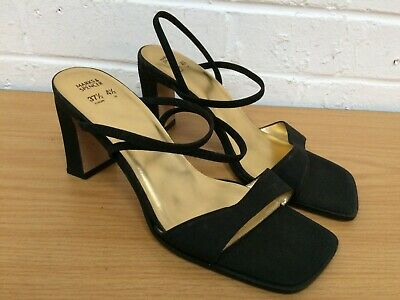 Ladies Marks & Spencer St Michael Black Square Toe Heel Sandals UK 4.5 #FC19-CF