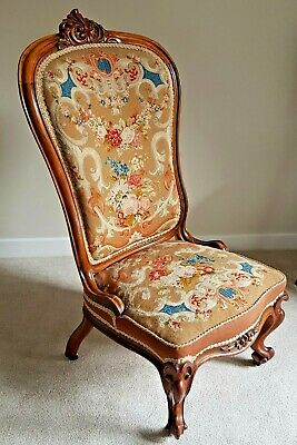 Beautiful 19th Century Carved Walnut Embroidered Side Chair Hollywood Regency
