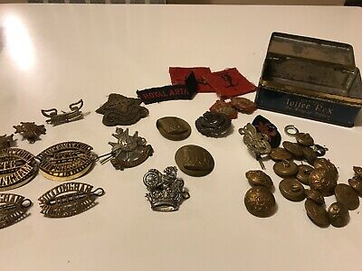 Large collection of old MILITARY BUTTONS, BADGES And Bits house clearance.
