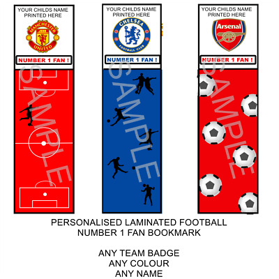 3 Childrens Personalised Football/Soccer/Any Team/Boys/Girls Laminated Bookmark.