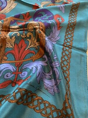 Vtg 80s Italian Silk Scarf Ginny Johanson Teal Brown Root Letters Vine Chain