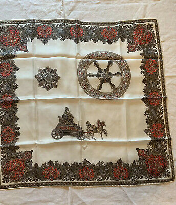 Vtg 80s Italian Silk Scarf Cream W/Brown Red Cluster Border Chariot Ships Wheel