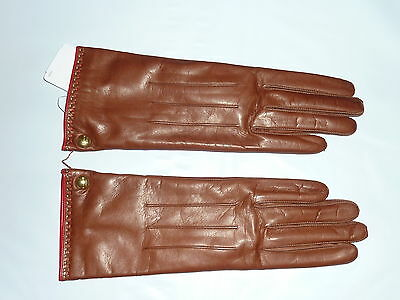 brown COACH Women's Cashmere Lined Leather Gloves tob 82821 NEW NWT 6.5
